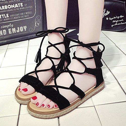 Estate moda donna sandali comodi tacchi alti,37 nero Black
