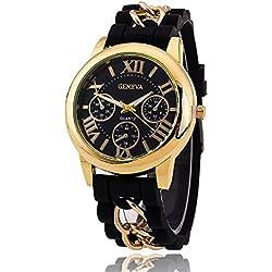 Geneva Platinum Analog Black Dial Wmen's Watch- GP-140