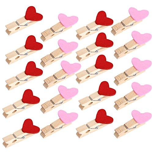 Latinaric 60 pcs Mini Holz Holzklammer Dekoklammern Wäscheklammern Herz Form für Gastgeschenk Weihnachten Deko