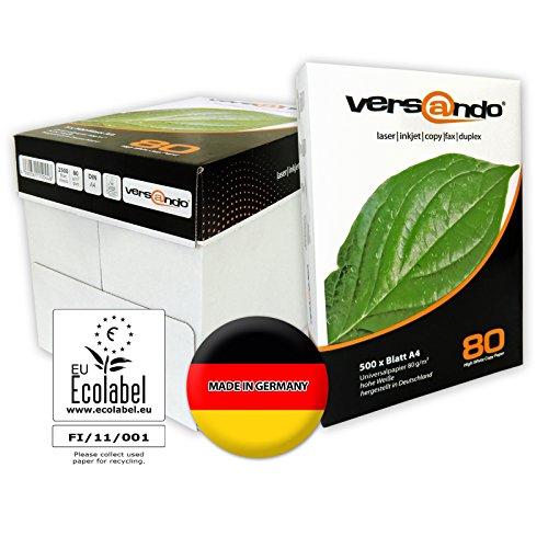 Versando 2500 Blatt Hochwertiges Kopierpapier versando high white 80, DIN A4, 80g/qm, weiß, Druckerpapier, Fax, Laserpapier, Universalpapier, Fotokopierpapier, für Tintenstrahldrucker, aus Nachhaltiger Forstwirtschaft, chlorfrei ECF (Recycling-verpackung)