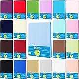 Style Heim Jersey Spannbettlaken Spannbetttuch 100% Baumwolle 180x200-200x200 cm Farbe Hellblau