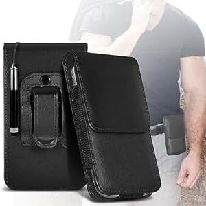 ONX3 Motorola Moto G LTE Schutzkleidung PU Leather Pouch Belt magnetischen Holster Flip Case Skin Cover + Mini Kapazitive des Klappdachs Stylus Pen (Schwarz)