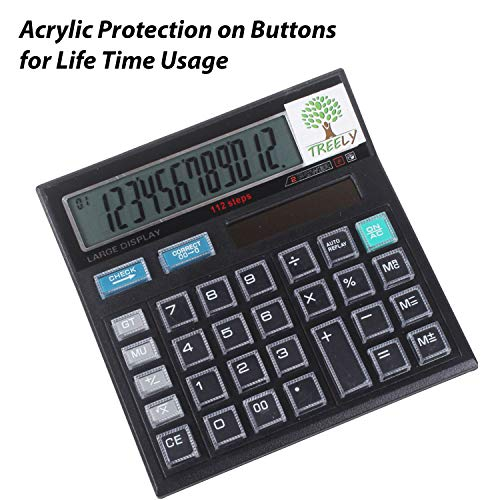 TREELY 12 Digit Solar, Basic Battery Professional Office Calculator with Extra Large LCD Display, Acrylic Protected Buttons, Black
