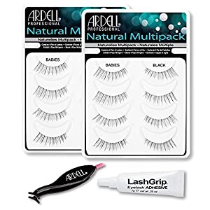 Ardell Fake Eyelashes Value Pack - Natural Multipack Babies (Black, 2-Pack), LashGrip Strip Adhesive, Dual Lash Applicator - Everything You Need For Perfect False Eyelashes by Ardell