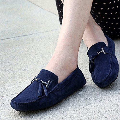 Men's Minitoo Nouvelle chass'en daim pour chaussures bateau Loafers Penny de conduite Bleu - bleu