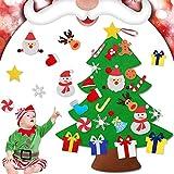 EMAGEREN Árbol de Navidad de Fieltro, Árbol de Navidad de Velcro con 26 Piezas DIY Ornamentos Desmontables, Árbol de Navidad de Pared de Firltro, Regalos Colgantes de Navidad para Niños