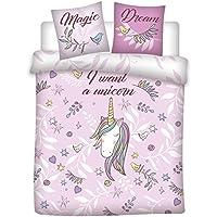 AYMAX S.P.R.L Parure de lit Double Licorne - Housse de Couette (200x200 cm) + 2 taie (65x65 cm) I Want a Unicorn