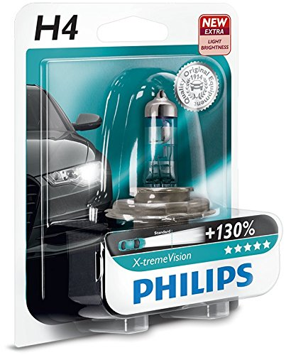 Philips 12342XV+B1 X-treme Vision Lampada Alogena H4, 12V 60/55W, 130% di Luce in Più, 40% Più Bianca