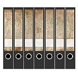 7 x Akten-Ordner Etiketten/Design Aufkleber/Rücken Sticker/Vintage Motiv 2 / für schmale Ordner/Ordnerrücken selbstklebend / 3,7 cm schmal, dünn