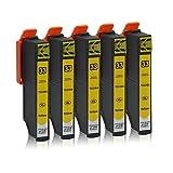 5 Druckerpatronen kompatibel zu Epson 33-XL (Gelb) passend für Epson Expression Premium XP-530 XP-540 XP-630 XP-635 XP-640 XP-645 XP-830 XP-900