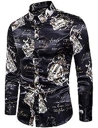 BUSIM Men's Long Sleeve Shirt Autumn Casual Personality Fashion Slim Black Letter Print Buttons Lapel Bottom T-Shirt...