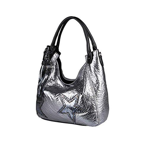 OBC DAMEN STERN TASCHE METALLIC Nieten Handtasche Fransen Schultertasche Bowling Shopper Hobo-Bag Umhängetasche Henkeltasche Silber Silber