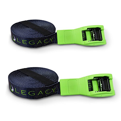 Legacy Pair Car Tie Down Roof Rack Straps for Kayaks Surfboards (Green)