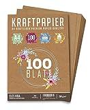100 Blatt Kraftpapier A4 Set - 260 g - 21 x 29,7 cm - DIN Format - Bastelpapier & Naturkarton Pappe Blätter aus Kraftkarton zum Drucken, Kartonpapier Basteln für Vintage Hochzeit Geschenke Etiketten