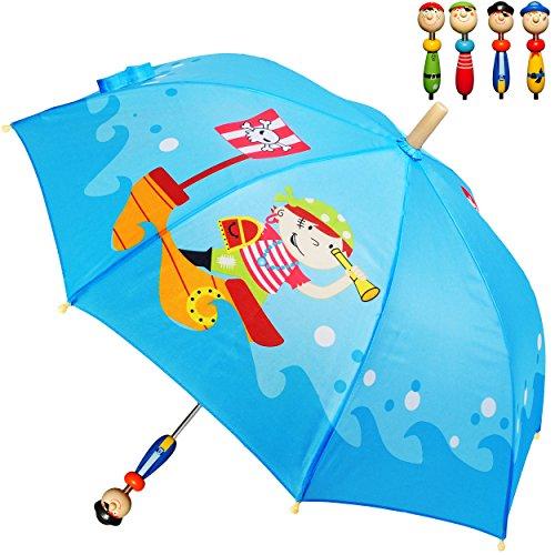 Unbekannt 1 Stück _ 3-D Effekt _ Regenschirm -  Pirat & Piratenschiff  - Kinderschirm - Ø 70 cm - mit Holzgriff & Figuren - Kinder Stockschirm - Schirm Kinderregensch..