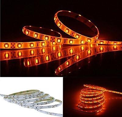 Orange LED Strip Light Waterproof 3528SMD 5M/16FT Flexible Light Strip,DC12V, 60LED/M