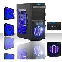PC DESKTOP QUAD CORE LED BLU AMD SISTEMA OPERATIVO WINDOWS 10 PROFESSIONAL 64 BIT/WIFI/ HD 1TB SATA III/RAM 8GB DDR3 1600MHZ/ INGRESSI HDMI-DVI-VGA /USB 2.0 3.0/VENTOLA LED 15CM 32 LED BLU/AUDIO,VIDEO,LAN PC FISSO COMPLETO PER UFFICIO FAMIGLIA LAVORO SCUOLA AZIENDA GAMING MYKA NEPTUNE CG-P03