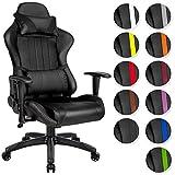 TecTake Poltrona sedia direzionale da ufficio racer racing classe di lusso con supporto lombare - disponibile in diversi colori - (nero | no. 402229)