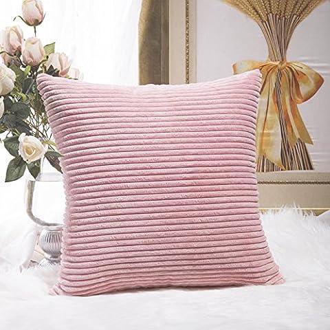 Home brillant solide décoratif Toss Taie d'oreiller rayé en velours côtelé Housse de coussin, Tissu, rose, 45,7 x 45,7cm