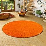 Palace Hochflor Shaggy Teppich Orange Rund in 7 Größen