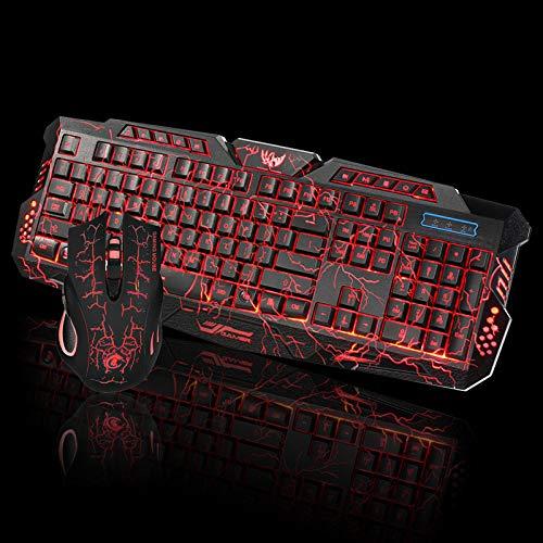 Skryo  Juego de teclado y mouse con cable 2.4G para juegos de LED para computadora Multimedia Gamer
