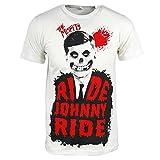 Officiel The Misfits bande Ride Johnny Ride Pour des hommes T-shirt Cru blanc Moyen – Poitrine 38-40 Pouces (96.5 -101.5 cm) Cru blanc