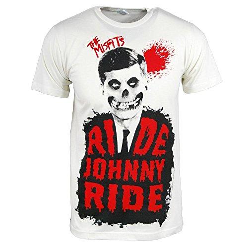 Offiziell Die Misfits Reiten Johnny Ride Herren T-Shirt Jahrgang Weiß Mittel – Brust 38-40 Zoll (96.5 -101.5 cm) Jahrgang Weiß (Reiten Krawatte)
