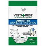Vet's Best - Pañales desechables para perro con indicador de humedad de, ajuste confortable, talla S, paquete de 12