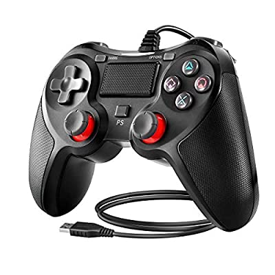 PS4 Controller Powcan Wired Controller for Playstation 4 Dual Vibration Shock Joystick Gamepad for PS4/PS4 Slim/PS4 Pro and PC with 2.1m Long USB Cable, Black