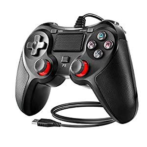 Powcan Controller für PS4, PS4 Controller Wired Gaming Gamepad mit Dual-Vibration-Turbo und Trigger-Tasten für Playstation 4PS4/PS4 Slim/PS4 Pro and PC mit 2,1m USB Kable (Blau)