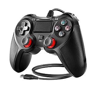 Powcan Controller für PS4, PS4 Controller Wired Gaming Gamepad mit Dual-Vibration-Turbo und Trigger-Tasten für…