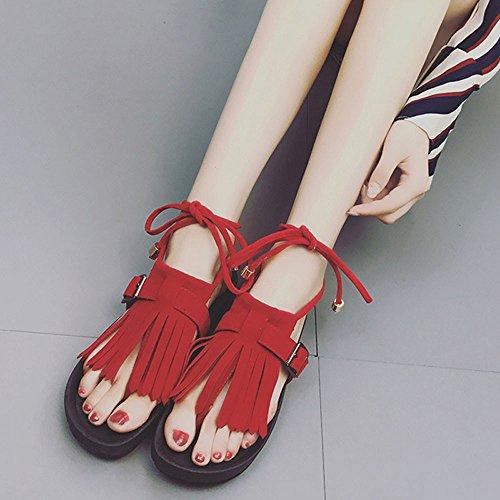 Longra Donna Tassel Fondo piatto, sandali in piedi casual Rosso