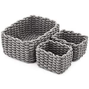 EZOWare 3er Pack Baumwolle Strickkorb für die Speicherung Kleiner Haushaltsartikel, Stifte (Weiß)