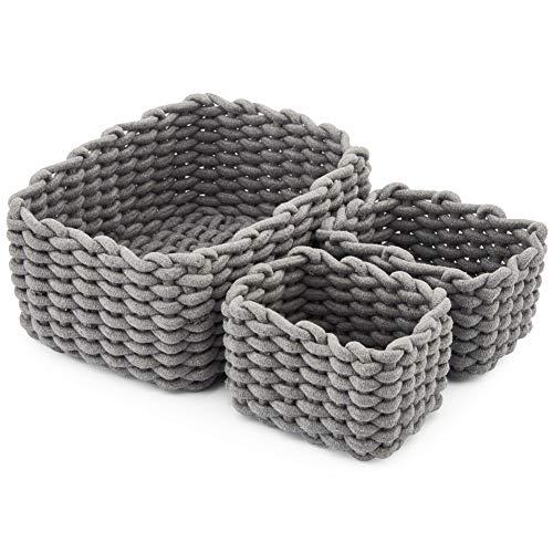EZOWare 3er Pack Baumwolle Strickkorb für die Speicherung Kleiner Haushaltsartikel, Stifte (Grau)