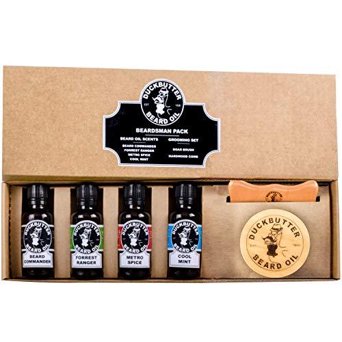 DUCKBUTTER Aceite Para Barba de Duck Butter - Paquete Beardsman - 4 Aromas con Juego de Cepillo y Peine para Regalo | Beardsman Pack