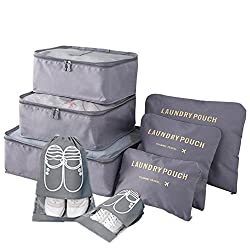 Packing Cubes For Suitcases - 8 Sets Packing Organizer Multiuse Cosmetics Case Underwear Clothes Shoes Organisers Storage Bags Set (Gray)