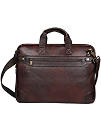 """O.K. INTERNATIONAL 15.6""""inches Laptop, 100% Genuine Leather 6.3 Liters Brown Laptop Bag For Office/ Travelling..."""