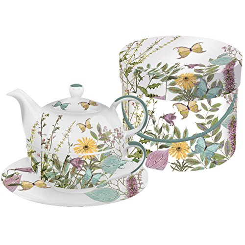 PPD Kensington Garden Tea4One Teeset, Teekanne, Tee Tasse mit Untertasse, Bone China, Bunt, 350 ml,...