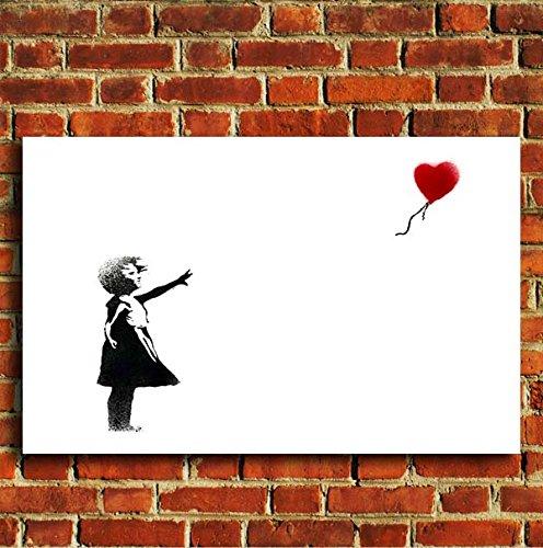 Banksy Bambina con Palloncino Cuore Graffiti Tela Artistica Da Parete con stampa immagine, s, m, l, 20