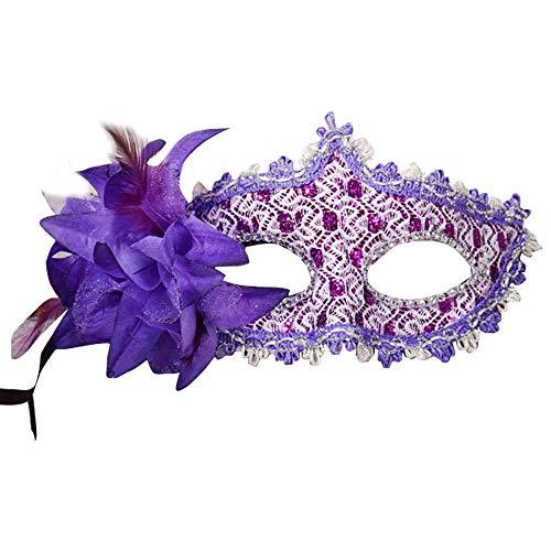 chenxiaspindes Venezianische Spitze Strass Pailletten Maske lila 1