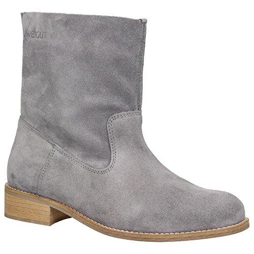 Zweigut® -Hamburg- smuck #210 Leder Stiefelette Damen Herbst mit Komfort MemoryFoam-Innensohle Wildleder Frühling Schuhe, Schuhgröße:38, Farbe:grau -