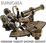 Euforia bronce náuticas sextante latón instrumento de navegación de barco astrolabio