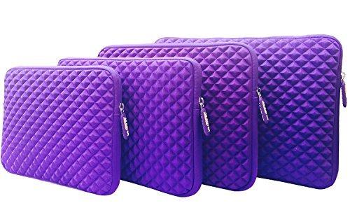 AZ Cover 9.7 Inch Case Simplicity & Stylish Diamond Foam Shock Resistant Neoprene Sleeve (Purple) For 9.7