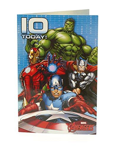Carlton 480726-0mit Hulk/Thor/Iron Man und Captain America Marvel Avengers 10. Geburtstag Karte