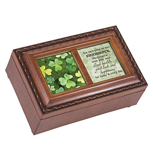 Cottage Garden Spieluhr Kleeblatt, Glücksbringer, Holzmaserung, mit Seil (Musik-schmuck-box Für Mama)