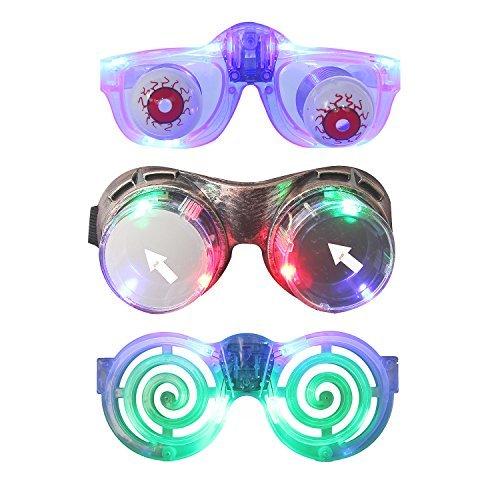 inkende Brillen mit Steampunk Brille, Witz Eye Brille, Glühende Party Brille für Raves, Party, Geburtstag, Weihnachten, Clubbing, Disco (Packung von 3) (Familien Disco Kostüme)