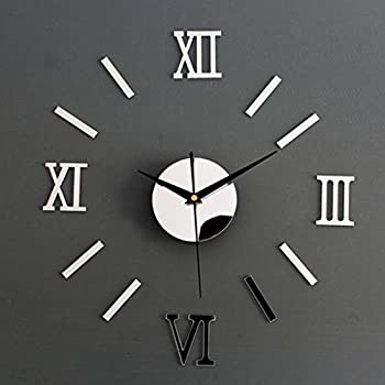 Roman Numeral Wall Clock Mirror Decal DIY Home Living Room Decoration