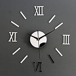 Generic (Unbranded)Silver Diy 3D Roman Numbers Watch Clock Home Decor Mirror Face Wall Sticker (Multicolor)