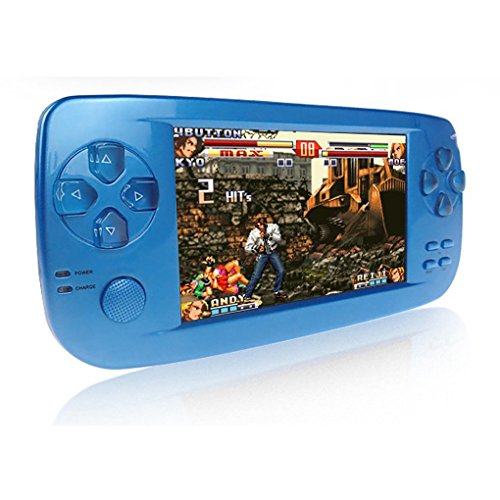 CXYP consolas de juegos de mano, 4,3 pulgadas 4 GB portátil videojuego construido en 653 juegos con cámara (Azul)