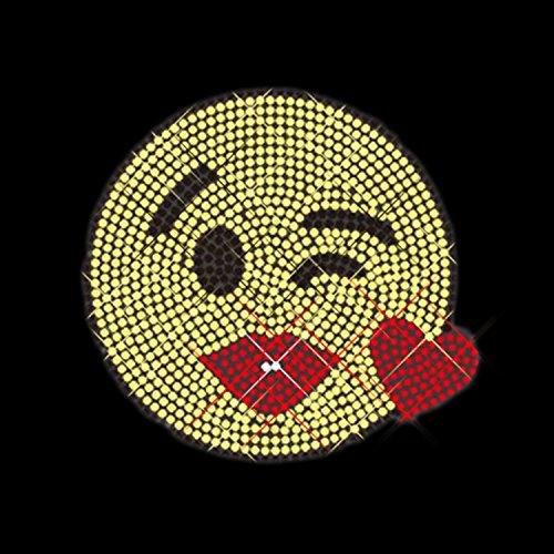 Luxflair Strassstein Motiv Emoji Küsse Kisses Liebe, cooles Strass Bügelbild ca. 10,7 x 10,2cm groß inkl. Anleitung zum einfachen...